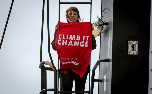 Greenpeace activist on board the government research ship Tangaroa in Wellington.