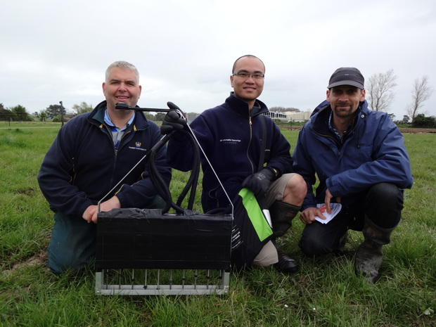 Jay Howes, Quang Mai and James Hanly with a puggometer, which they developed to assess treading damage to the soil.