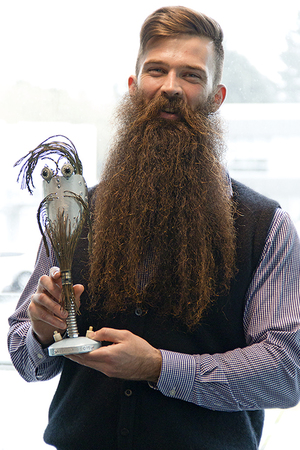 Sam Wakelin, winner of best beard at the 2015 NZ Beard and Moustache Championships held in Auckland