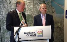 Housing Minister Nick Smith (left) and Auckland Mayor Len Brown, speaking about the latest Housing Accord update.