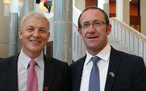 Labour MPs Phil Goff (left) and Andrew Little at Australian Parliament in Canberra.