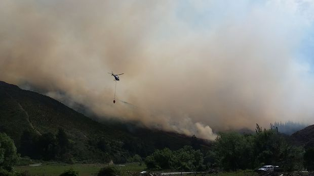 Nine helicopters fought the forest fire in the Waikakaho Valley by air last week.