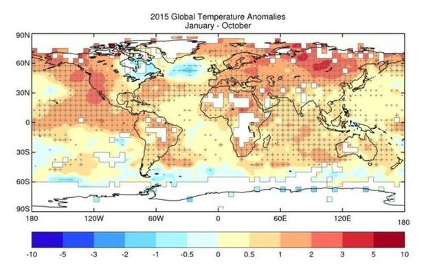 A map showing how far 2015's temperatures have deviated from the 1961-1990 average.