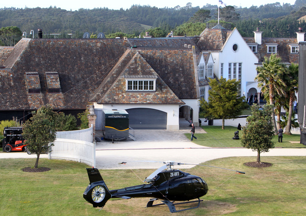 A helicopter parked outside the mansion of Megaupload founder Kim Dotcom before the launch of his new website at a press conference in Auckland on January 20, 2013.