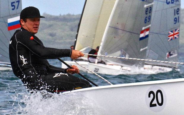 New Zealand's Andrew Murdoch sailing in the 2015 Finn Gold Cup (World Champs) in Auckland.