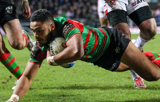 The Rabbitohs' Dylan Walker scores a try.