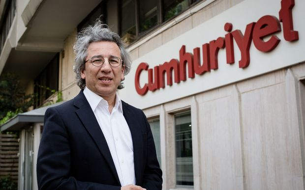Can Dundar, the editor-in-chief of Cumhuriyet daily, outside the newspaper's offices.