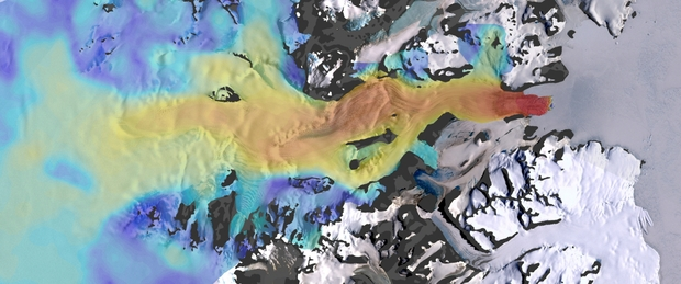 This image shows the speed of ice flow of the Mackay Glacier, which drains the massive East Antarctic Ice Sheet.
