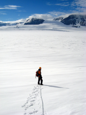 Traversing the Mackay Glacier.