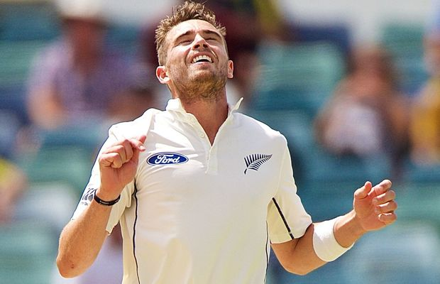 The Black Caps' bowler Tim Southee rues a missed chance.