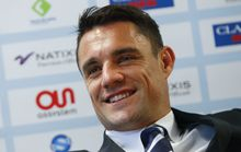World Cup winner Dan Carter is introduced to the Racing 92 club and fans in Paris.
