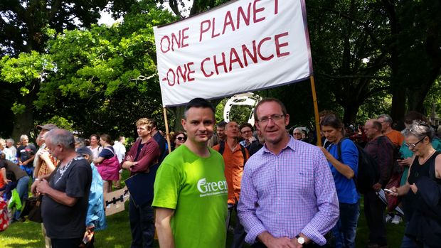 James Shaw (left) and Andrew Little at a climate march in Auckland