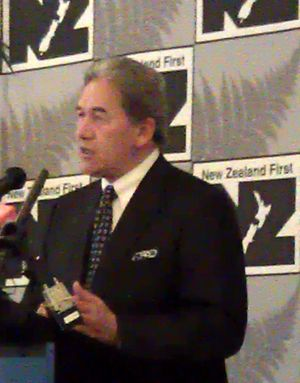 Winston Peters delivering his speech at New Zealand First's annual conference.