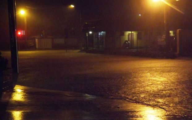 Flooding in downtown Apia brought by Tropical Cyclone Tuni.