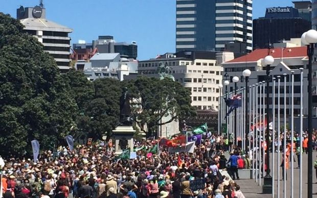 An estimated seven thousand people marched in Wellington to the steps of parliament, demanding climate change justice, 28 November 2015.