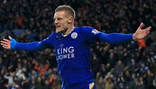 Jamie Vardy of Leicester celebrates a goal.