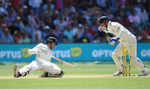 Mitchell Santner is stumped by Australian wicketkeeper Peter Nevill during day 3 of the 3rd cricket test match between New Zealand Black Caps and Australia
