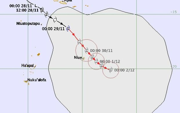 A forecast of Cyclone Tuni's predicted path by Niue on Sunday night.