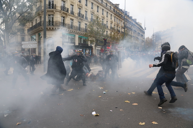 Police fired tear gas at demonstrators in Paris.