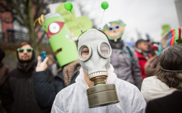 A demonstration organised by environmental NGOs in Frankfurt am Main, Germany.