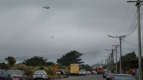 A fire threatening homes on Southshore in Christchurch.
