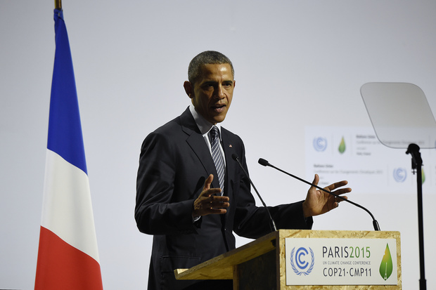 President Barack Obama addresses the COP21 climate change meeting.