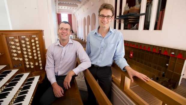 Richard Apperley and Michael Stewart and the organ in the Wellington Cathedral of St Paul