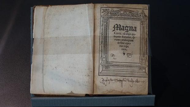 One of two copies of the Magna Carter held at the University of Canterbury.The other one is held at Auckland University.