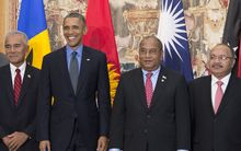 US President Barack Obama poses with Kiribati President Anote Tong, Marshall Islands President Christopher Loeak, Papua New Guinea Prime Minister Peter O'Neill