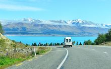 Scenic road to Mount Cook National Park.