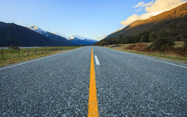 Asphalt highway in the South Island.
