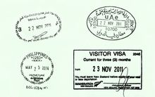 Passport page with arrival & departure stamps from various countries.