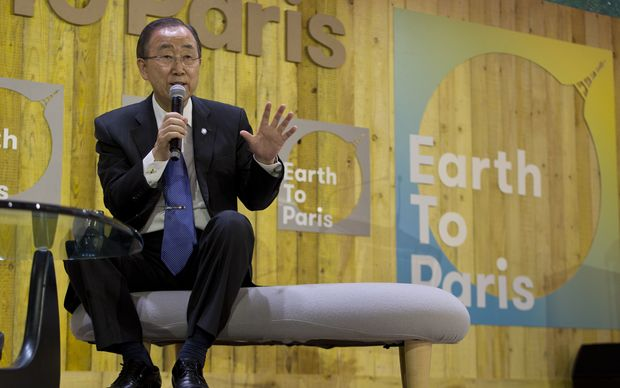 UN secretary general Ban Ki-moon delivers a speech at the World Climate Change Conference 2015 (COP21).