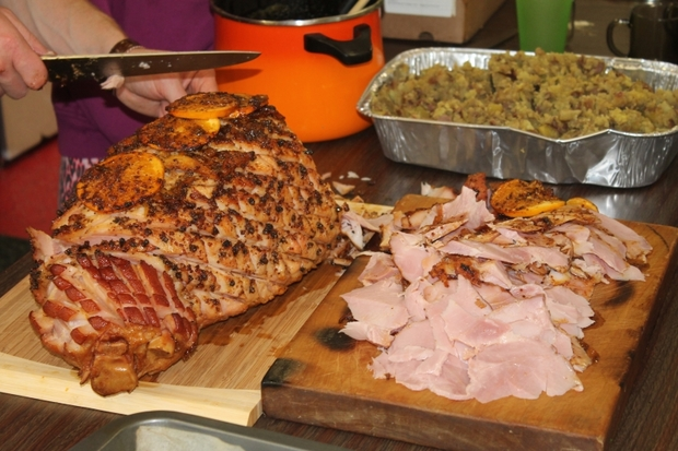 A photo of a baked Christmas ham prepared by food writer Sam Mannering.