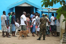 Voters queue at an Efate polling station,  Vanuatu election 2012.
