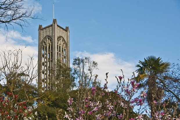 A photo of the bell tower of Christ Church Cathedral, Nelson.