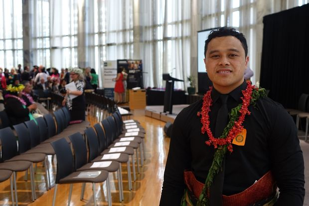 The winner of the arts and creativity award at the Pacific Youth Awards 2015, Sione Faletau, an artist of Tongan descent who has just completed a Masters at Auckland's prestigious Elam School of Fine Arts.