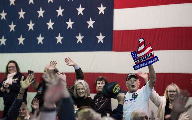 Supporters cheer as Republican presidential candidate Donald Trump speaks to the crowd in South Carolina.