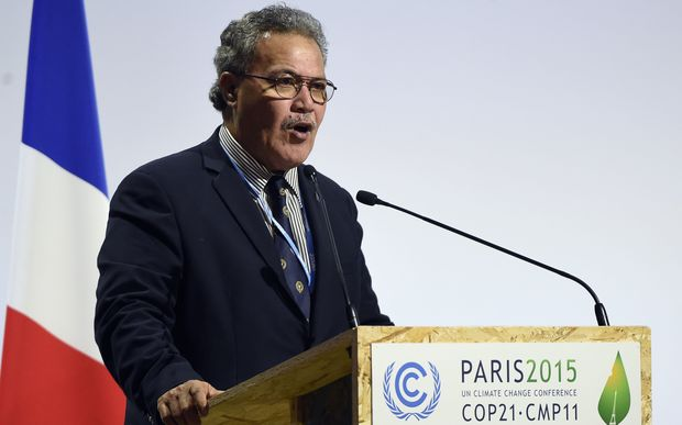 Tuvalu Prime Minister Enele Sopoaga delivers a speech during the opening day of the World Climate Change Conference 2015, COP21.