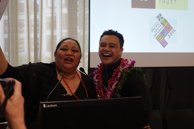 Sione Faletau and his Aunty at the Pacific Youth awards, 2015.