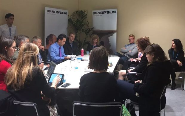 Climate change ambassador Jo Tyndall and associate climate change minister Simon Bridges brief NZ stakeholders and media in the NZ delegation room at Cop21.