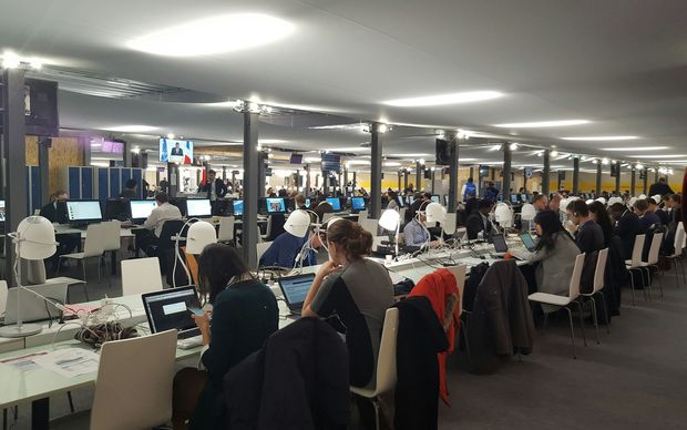 The media centre at the COP21 climate change talks.