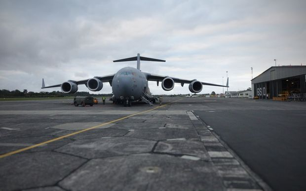 The massive C-17 Globemaster, from the RAF, which flew New Zealand personnel to Auckland.