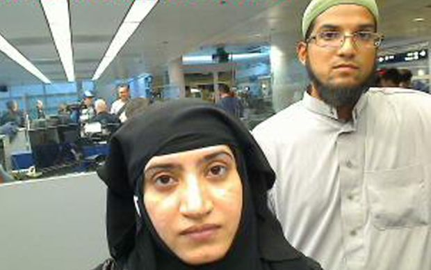 Syed Farook and Tashfeen Malik, as they were going through customs in Chicago's O'Hare International Airport in July 2014