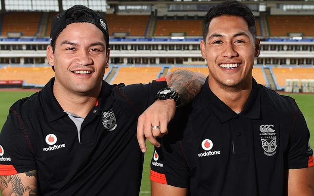 New Warriors signings Isaac Luke and Roger Tuivasa-Sheck.