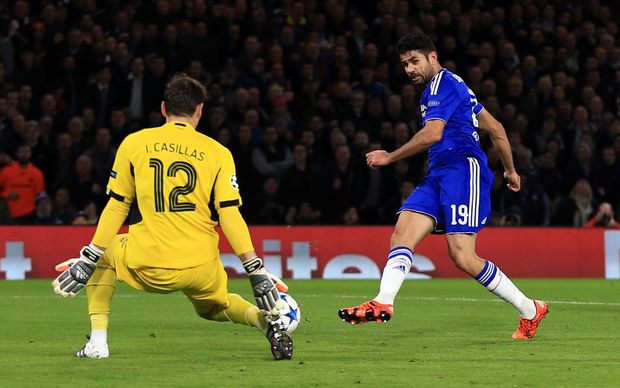 Diego Costa scores for Chelsea.