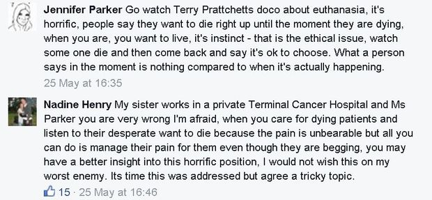 Comments on RNZ Facebook about Lecretia Seales' case at the High Court to request the right to die.
