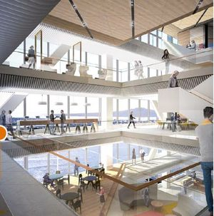 An artist's impression of the interior of the PwC Tower at Commercial Bay