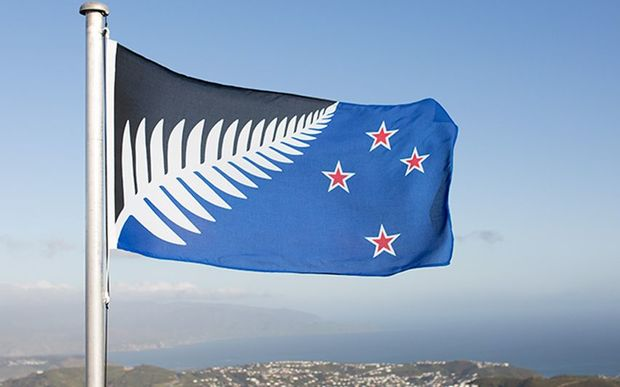 The Black, White and Blue Silver Fern flag, designed by Kyle Lockwood