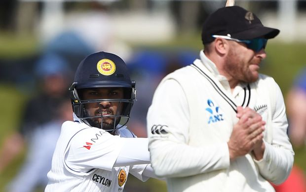 Dinesh Chandimal batting for Sri Lanka during day 2 of the 1st cricket test at University Oval, Dunedin, New Zealand.